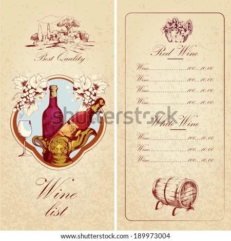 Vintage Restaurant Best Quality Wine List Stock Vector (Royalty Free