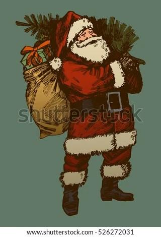 Vintage Santa Claus Drawing Retro Card Stock Vector (Royalty Free