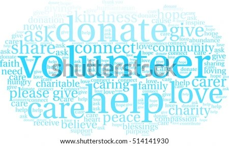 Volunteer Word Cloud On White Background Stock Vector (Royalty Free