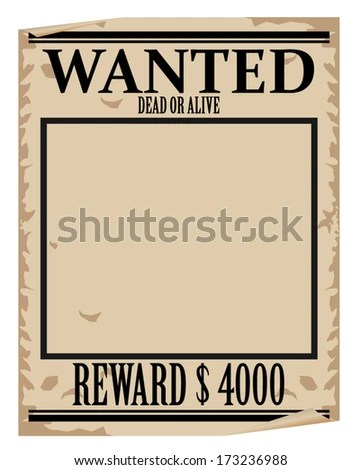 Wanted Poster Template Stock Vector (Royalty Free) 173236988