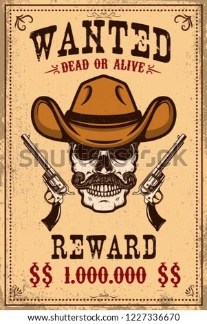 Wanted Poster Template Cowboy Skull Crossed Stock Vector (Royalty