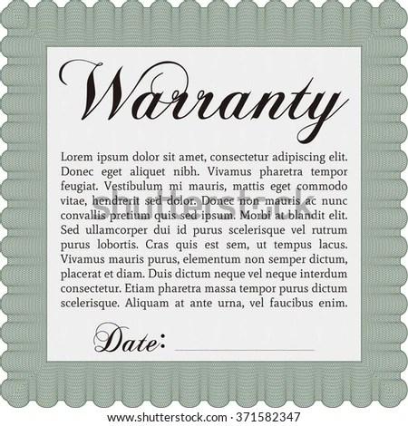 Warranty Certificate Sample Text Vector Illustration Stock Vector