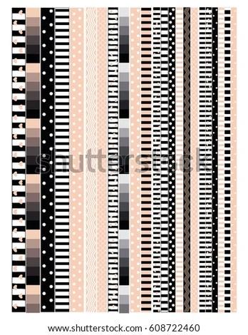 Washi Tape Design Printable Border Tape Stock Vector (Royalty Free