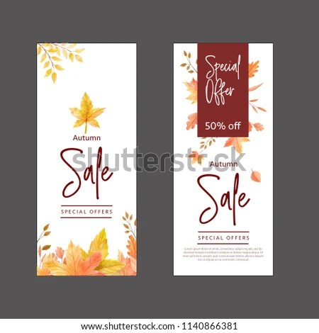 Watercolor Autumn Sales Banner Templates Stock Vector (Royalty Free