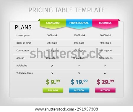 Web Pricing Table Template Business Plan Stock Vector (Royalty Free