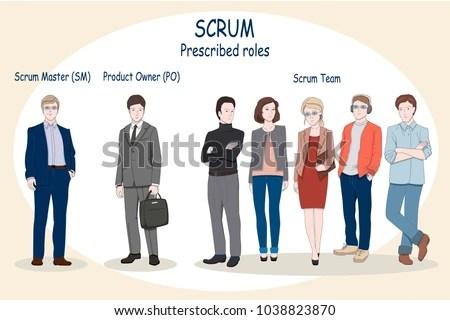Web Print Concept Illustration Scrum Roles Stock Vector (Royalty
