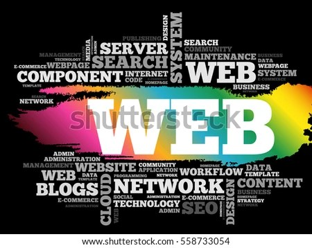 WEB Word Cloud Collage Business Concept Stock Vector (Royalty Free
