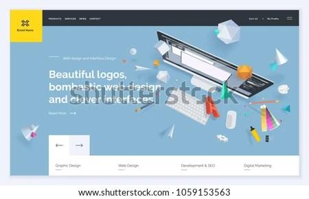 Website Template Design Vector Illustration Concept Stock Vector