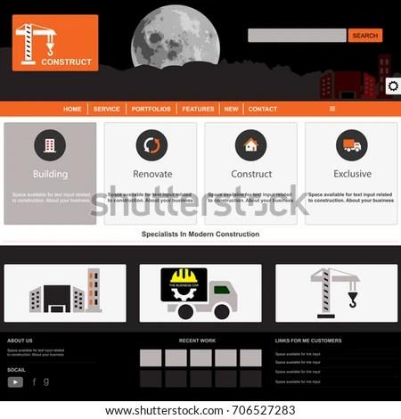 Website Template Design Your Business Construction Stock Vector