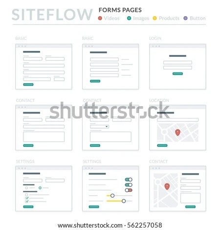 Website Wireframe Layouts UI Kits Site Stock Vector (Royalty Free