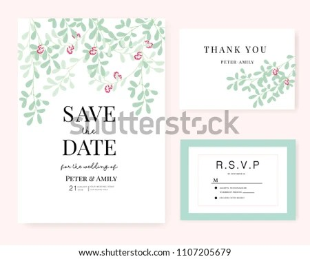 Wedding Card Invitation Template Green Leaf Stock Vector (Royalty