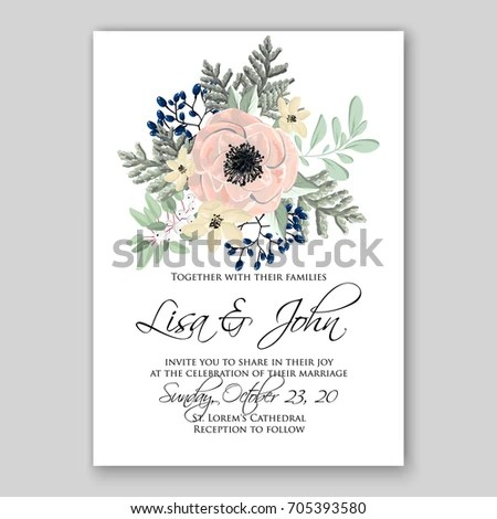 Wedding Card Invitation Template Poppy Anemone Stock Vector (Royalty