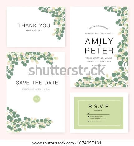 Wedding Card Invitation Template Sample Text Stock Vector (Royalty