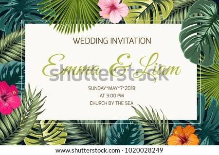 Wedding Event Invitation Card Template Exotic Stock Vector (Royalty
