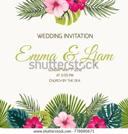 Wedding Invitation Card Design Template Exotic Stock Vector (Royalty