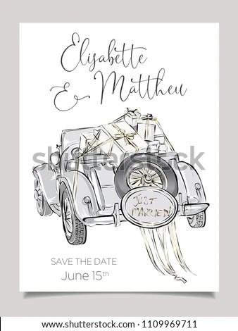 Wedding Invitation Card Template Cabriolet Car Stock Vector (Royalty