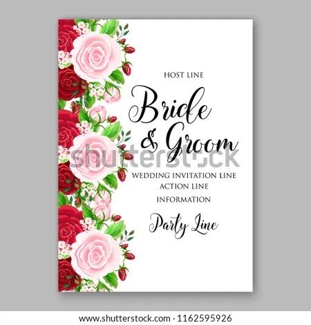 Wedding Invitation Card Vector Template Rose Stock Vector (Royalty