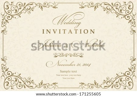 Wedding Invitation Cards Baroque Style Gold Stock Vector (Royalty