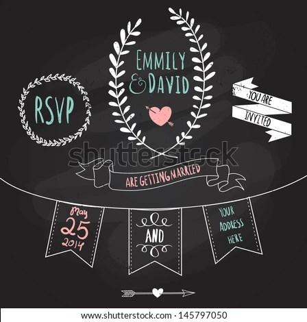 Wedding Invitation Template Chalkboard Style Vector Stock Vector