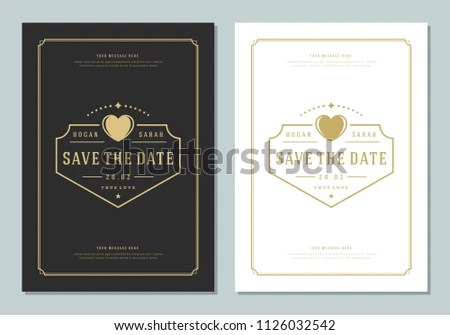 Wedding Invitations Save Date Cards Design Stock Vector (Royalty