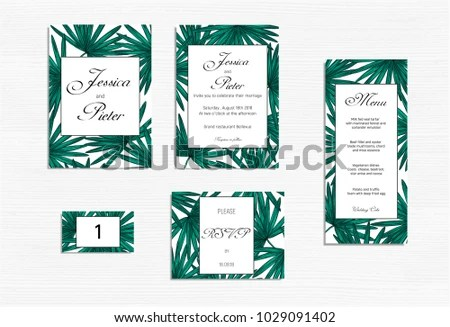 Wedding Invitations Set Mockup Tropical Design Stock Vector (Royalty