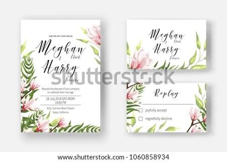 Wedding Invite Template Watercolor Blooming Magnolia Stock Vector