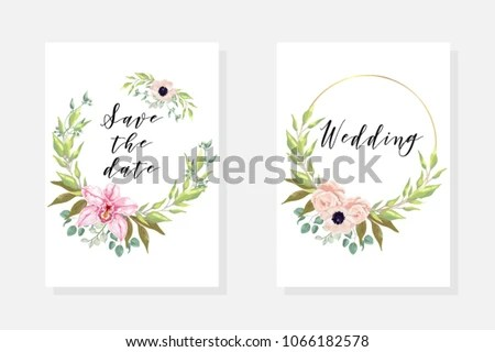 Wedding Invite Template Watercolor Blooming Orchid Stock Vector