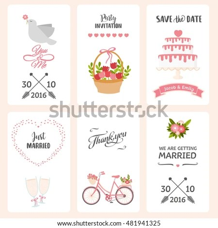 Wedding Label Template Cartoon Illustration Typography Stock Vector