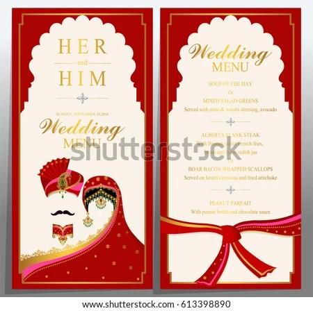 Wedding Menu Card Templates Gold Patterned Stock Vector (Royalty