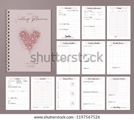 Wedding Planner Printable Design Checklists Important Stock Vector