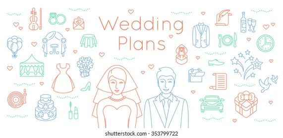 Wedding Plans Thin Line Flat Vector Stock Vector (Royalty Free