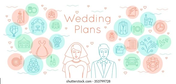 Wedding Plans Thin Line Flat Vector Stock Vector (Royalty Free - wedding plans