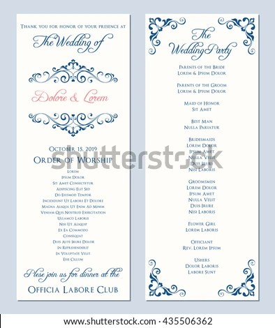 Wedding Program Template Vector Illustration Stock Vector (Royalty
