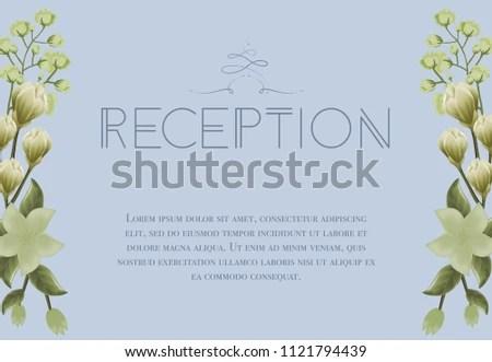 Wedding Reception Card Design Snowdrops Lily Stock Vector (Royalty