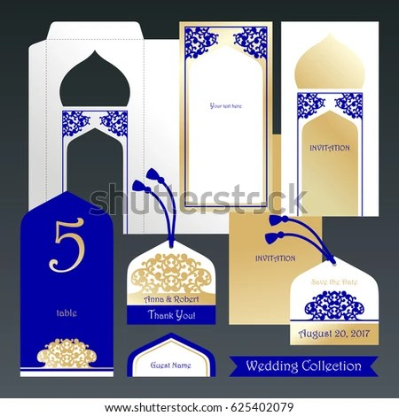 Wedding Set Invitation Envelope Guest Card Stock Vector (Royalty