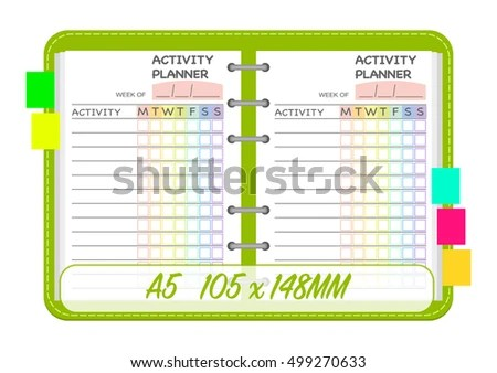 Weekly Activities Planner Template Organization Chart Stock Vector