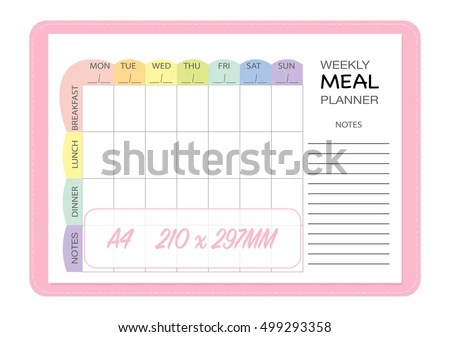 Weekly Meal Planner Insert Template Menu Stock Vector (Royalty Free