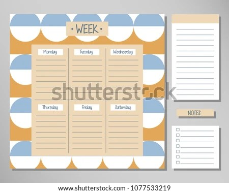 Weekly Routine Agenda Sheet Template Abstract Stock Vector (Royalty
