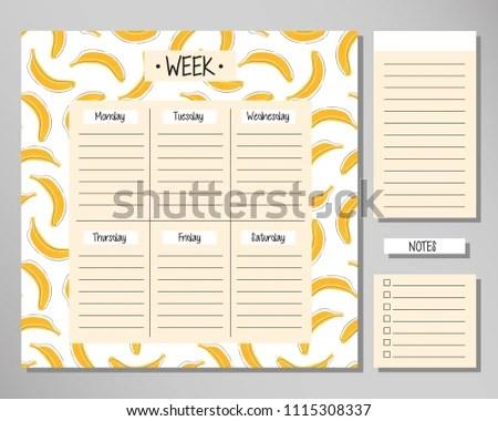 Weekly Routine Agenda Sheet Template Vector Stock Vector (Royalty
