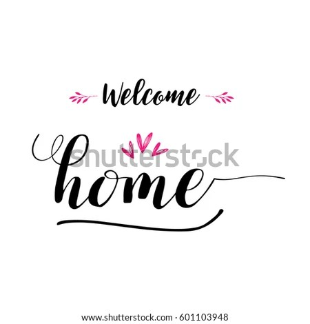 Welcome Home Lettering Photography Set Motivational Stock Vector