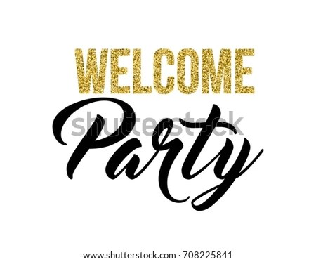 Welcome Party Calligraphy Invitation Card Banner Stock Vector