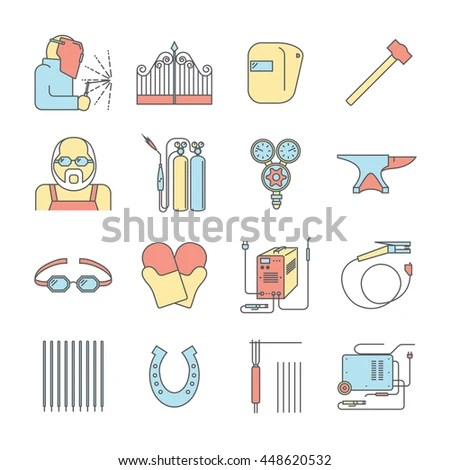Welding Color Icon Set Welder Symbols Stock Vector (Royalty Free