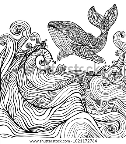 Whale Ocean Waves Coloring Page Children Stock Vector (Royalty Free