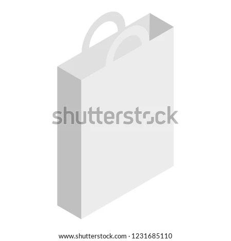 White Paper Hand Bag Icon Isometric Stock Vector (Royalty Free