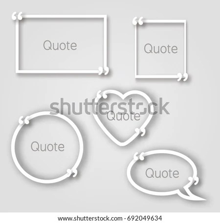 White Quote Bubble Paper Frames Realistic Stock Vector (Royalty Free