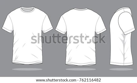 White T Shirt Template Front Back Side Stock Vector (Royalty Free