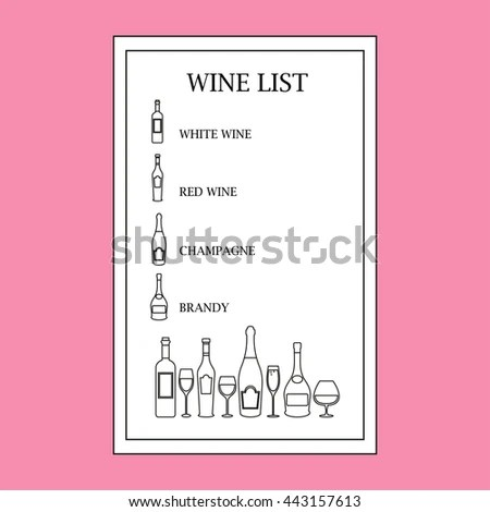 Wine List Template Vector Thin Line Stock Vector (Royalty Free