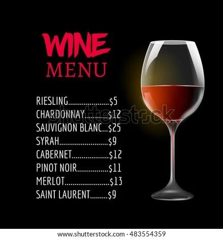 Wine Menu Card Design Template Wine Stock Vector (Royalty Free