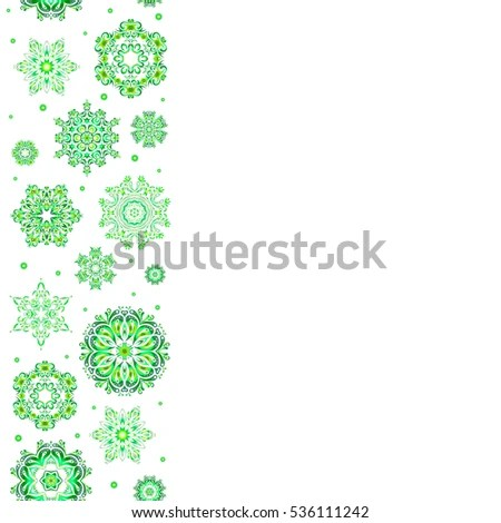 Winter Boarder Vertical Floral Border Christmas Stock Vector