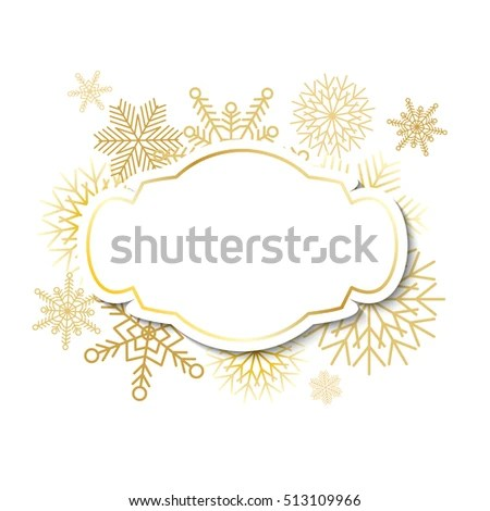 Winter Vintage Label Template Gold Frame Stock Vector (Royalty Free
